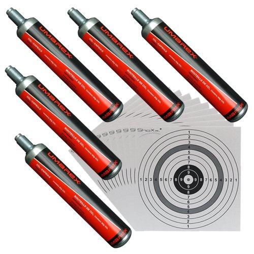 5 Umarex Co2 Kapseln 88 Gramm für Gotcha / Softair / Paintball + 100 ShoXx.® shoot-club Zielscheiben 14x14 cm mit zusätzlichen grauen Ring und 250 g/m²
