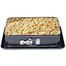 Springform - Molde rectangular antiadherente para tartas, con parte inferior extraíble, apto para lavavajillas
