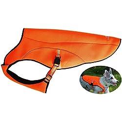 Petsking Chaleco de refrigeración para perro, chaleco de seguridad reflectante para perros grandes, para senderismo, caza, entrenamiento, camping, naranja