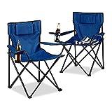 Relaxdays Campingstuhl 2er-Set, Rückenpolster, Getränkehalter, faltbar, Klappstuhl H x B x T: 82 x 78 x 50 cm, blau