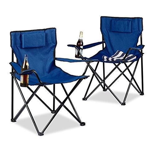 Relaxdays Chaise de camping pliable avec accoudoirs porte-boisson lot de 2 fauteuils HxlxP: 82 x 78 x 50 cm, bleu