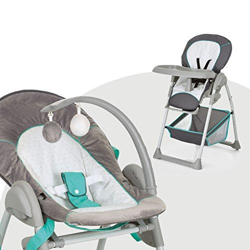 Hauck Sit'n Relax Newborn Set - Neugeborenen Aufsatz und Kinderhochstuhl ab Geburt, mit Liegefunktion / inkl. Spielbogen, Tisch, Rollen / höhenverstellbar, mitwachsend, klappbar, Hearts (Grau)