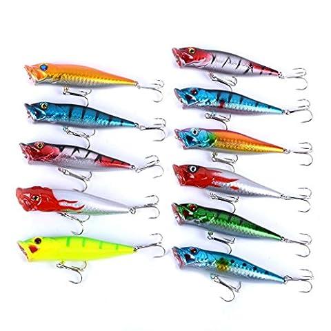 Aorace 11pcs Kit de leurres de pêche mélangé, y compris Minnow Popper Crank Baits avec crochets pour eau salée Truite d'eau douce Bass Salmon Fishing