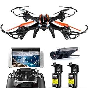DBPOWER ferngesteuerte Drohne mit Kamera 720P HD Kamera Drone Quadrocopter für Anfänger Outdoor Spielen Fliegen, Komplett-Set RTF