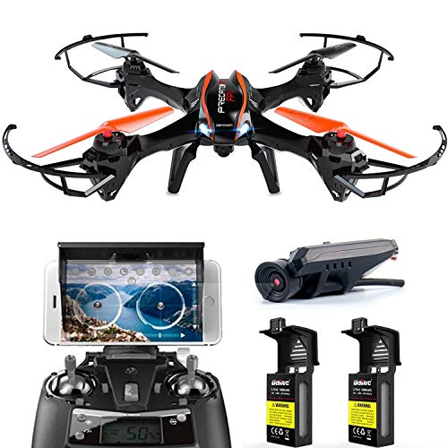 DBPOWER Drohne -Extra Akku und 4G TF Karte mit Kamera live 120°Weitwinkel HD 720P übertragung Quadrocopter für Anfänger 2.4 G 6-Achsen 4 Kanal Kopflos