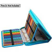 Niutop 150 Tela Caso Pastelli Matita con Cosmetic Bag Astuccio con Cerniera Grande Capacità Makeup Case Stazionario Pouch (Blu)