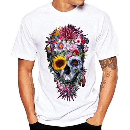 VEMOW Sommer Vatertag Geschenk Männer Täglichen Casual Druck Tees Hemd Kurzarm T-Shirt Bluse Pullover Pulli(Weiß, EU-46/CN-M)
