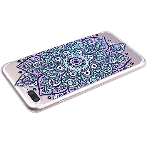 Yokata iPhone 7 Hülle Transparent Weich Silikon TPU Case Handyhülle Schutzhülle Durchsichtig Clear Backcover Bumper mit Schmetterling Campanula Muster + 1 x Kapazitive Feder Violett
