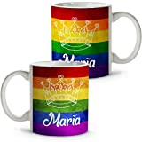 Lolapix - Taza personalizada Dia del Orgullo LGTBQ Corona. Bisexual, Trans, Lésbico, Intersexual, Gay y Queer. Personalizada con tu nombre o texto. Varios diseños y colores de interior. Regalo único, original y exclusivo.