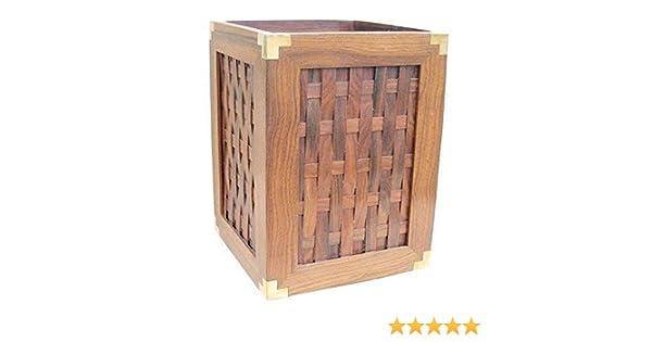 Papierkorb aus Sheesham Holz und Messingecken Edler Marine Papierkorb G4652