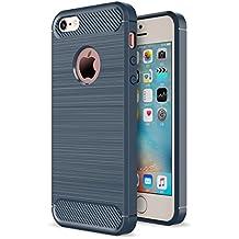 iPhone SE 5SE 5 5S Funda Caseforyou® Carbon Fiber Pattern Ultra Slim Fit Soft TPU Back Case Cover Protector Shell, Navy Blue