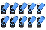 FEBNISCTE 10 piezas Pen Drive 4GB Llaves USB 2.0 Memorias USB - Azul