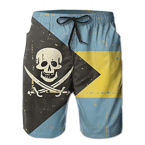 Bahamas Flag Skull Hand Painted Mens Quick Dry Sports Summer Printing Swimwear Beach Board Shorts Trunks Pants Britches Medium
