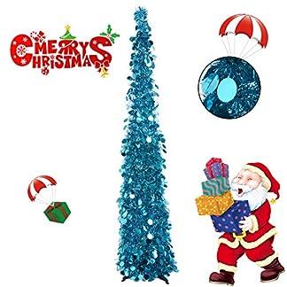 Hydream 150 cm Árbol de Artificial Tinsel, Plegable Noir Árbol de Navidad Halloween para Apartamento, Dormitorios, Bar, Fiestas o Decoración de la Casa Embrujada (Lentejuelas Araña)