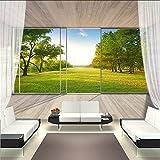 Pbbzl Benutzerdefinierte Wandbild Vliestapete 3D Raum Erweiterung Balkon Fenster Wald Landschaft Wandmalerei Wandbilder-400X280Cm