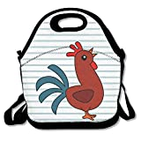 Cute Chicken Clipart Insulated Lunch Bag - Neoprene Lunch Bag - Large Reusable Lunch Tote Bags For Women, Teens, Girls, Kids, Baby, Adults Portable Carry