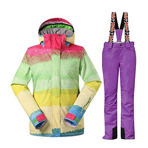 Wonny Brandneu 2 Teilig Skianzug Wasserdicht Schneeanzug Jacke und Hosen Unisex Skiset Lila S