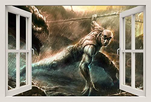 Unified Distribution Chronicles of Riddick Vin Diesel - Wandtattoo mit 3D Effekt, Aufkleber für Wände und Türen Größe: 92x61 cm, Stil: Fenster