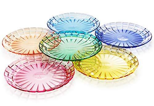 Juego de 6 platos de pan o ensalada de plástico Tritan irrompibles, sin BPA, 100% fabricados en Japón (colores surtidos)