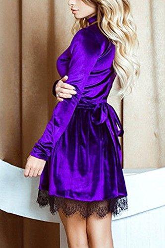 Le Donne Solido Caldo A Maniche Lunghe Scollo A V Top Lace Mosaico Tunica Vestito Di Velluto Purple