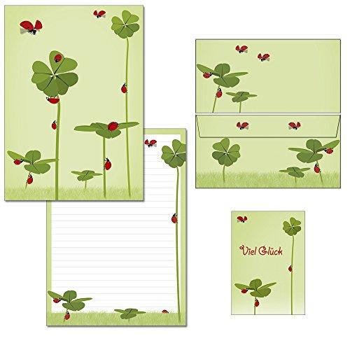 Briefblock-Mappe Klee mit Marienkäfern - 1 Schreibblock DIN A4 + 15 Briefumschläge DIN lang + 2 Postkarten Block-Set-Klee