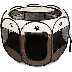 BIGWING Style Parque Mascota de Juego Entrenamiento Dormitorio Perro Gato Conejo Octágono Plegable Lavable Durable 91x 91x 58 CM, Blanco y Café