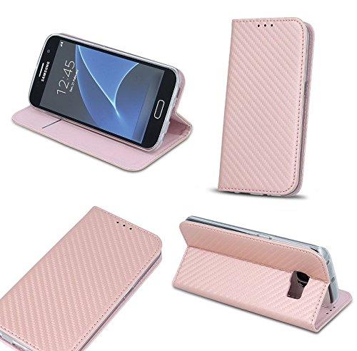 BOOK CASE SMART MAGNET CARBON für Apple iPhone 5 iPhone 5S iPhone 5G iPhone 5SE Cover Handy Tasche Flipcase Etui Buchform Kunststoff TPU Halterung für Kreditkarten (grau) pink