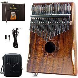 Moozica réglées EQ Kalimba, Koa Tone Wood électrique doigt pouce Piano Micro intégré avec interface audio 6,35mm et professionnel Kalimba Sac