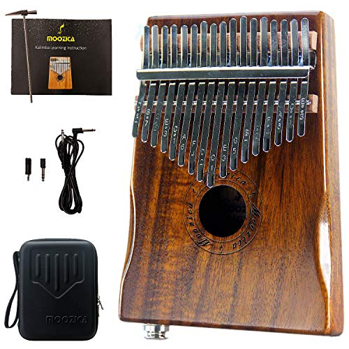 Moozica 17-tasto EQ pickup Kalimba, tono Koa Wood Electric finger piano integrato con interfaccia audio da 6.35 mm e professionale Kalimba bag