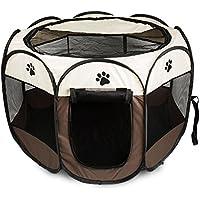 Parque Mascota de Juego Entrenamiento Dormitorio Perro Gato Conejo Octágono Plegable Lavable Durable 91x 91x 58 CM, Blanco y Café