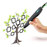 Amzdeal 3D-Drucker Stift 3D-Pen für 3D-Zeichnungen 3D Stereoscopic Printing Pen mit EU Adapter, USB-Kabel und 2 Packungen Filament (schwarz)