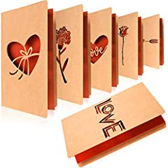 Idea Regalo - 6 Pezzi Carte di San Valentino Fatto a Mano Carte per Il Taglio al Laser di San Valentino Kraft Biglietti d'Auguri con Busta per San Valentino Natale Compleanno Capodanno Anniversario