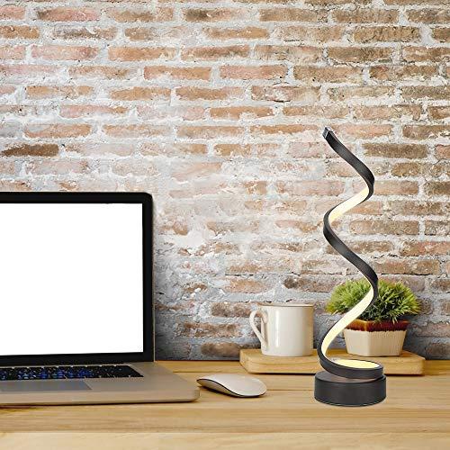 ELINKUME Regulable LED Lámpara de mesa espiral, 12W blanco cálido Oscurecimiento continuo LED curvo Lámpara de noche para oficina de sala de estar de dormitorio (negro)