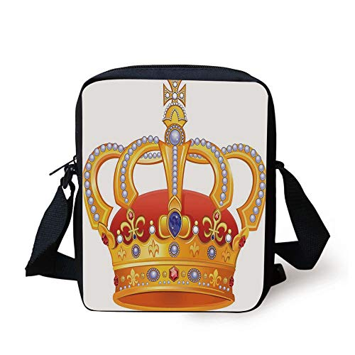 King,Royal Crown with Gem Like Image Symbol of Imperial Majestic Print,Red White Blue and Marigold Print Kids Crossbody Messenger Bag Purse - Amber Kings Crown