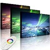 lightbox-Multicolor Bild mit LED Hintergrundbeleuchtung, gewaltiges Polarlicht, 60x40 cm, Front Lighted Bunt