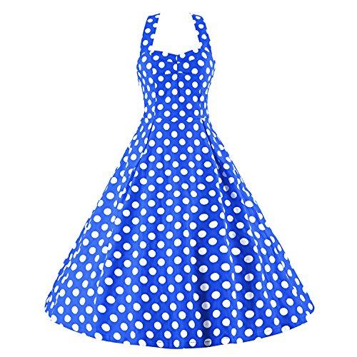 LUOUSE Robe de Bal/Soirée Licou Vintage année 40 50 60 avec des Points Polka V002-Bleu