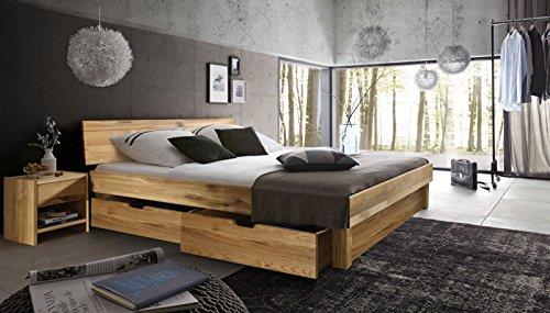 SAM® Massiv-Holzbett Campus mit Bettkästen in Wildeiche natur, geschlossenes Kopfteil, 100% FSC-zertifizierte Wildeiche, natürliche Maserung, massive widerstandsfähige Oberfläche in zeitlosem Farbton, 140 x 200 cm