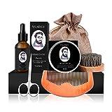 VSADEY Kit de Cuidado de Barba para Hombre Crecimiento 6pcs Regalos Originales para Hombre Aceite Barba, Balsamo Barba, Peine Barba, Tijeras Barba, Cepillo Barba, Bolsa de Almacenamiento Regalo Ideal