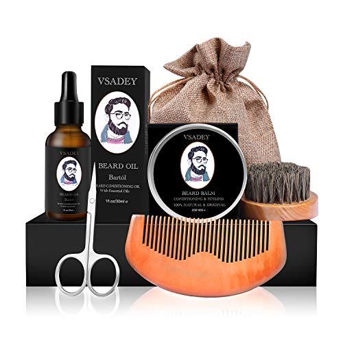 VSADEY Kit Cuidado Barba Hombre Crecimiento 6pcs Regalos