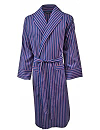 Lloyd Attree & Smith Men's Lightweight Cotton Flannel Dressing Gown - Navy, Red & White Stripes