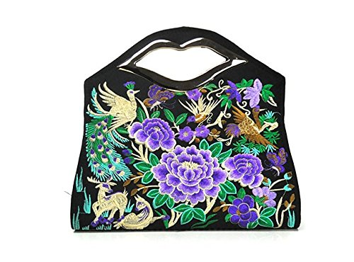 Bella borsa a tracolla–Memorecool ricamo Handbags National Style borsa ragazze in poliestere con zip Tasche interne Healthy peonies3 phenix2