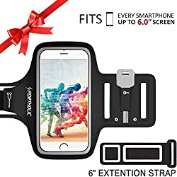 PORTHOLIC® Brazalete deportivo Para Deportes Fitness hasta 6.0 pulgadas für iPhone X 8 Plus 7 Plus 6/6S Plus,Galaxy S9/S8/S7 Plus edge,Note 8/6 LG g6 Huawei Bq Con soporte para llaves, cables y tarjetas(negro+)