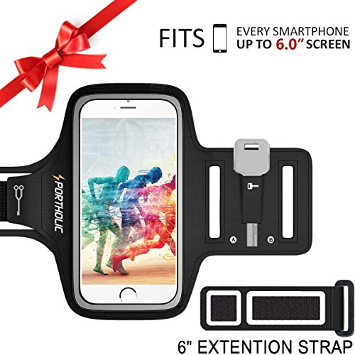PORTHOLIC Schweißfest Sport Armband Fitness bis 6.0 zoll für iPhone X 8 Plus 7 Plus 6/6S Plus,Galaxy S9/S8/S7 Plus edge,Note 8/6 LG g6 Huawei P10 Mate Xiaomi Mit Schlüsselhalter/Kabelfach/Kartenhalter(Schwarz+) (Samsung Armband Lg)