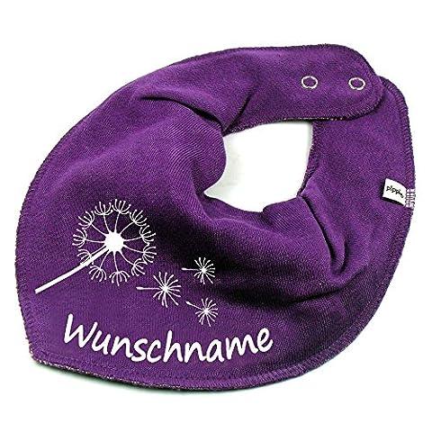 HALSTUCH PUSTEBLUME mit Namen oder Text personalisiert lila für Baby oder Kind (Schmetterling Tuch Lätzchen)