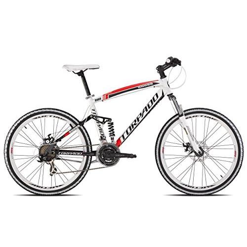 51pL4Z72qKL. SS500  - Torpado Bike MTB Full suv9926 inch aluminium 3x 7V Disc Size 48White Red (MTB dual-shocked) / Bicycle MTB Full suv9926 inch aluminium 3x 7s Disc Size 48White Red (MTB Full Suspension)