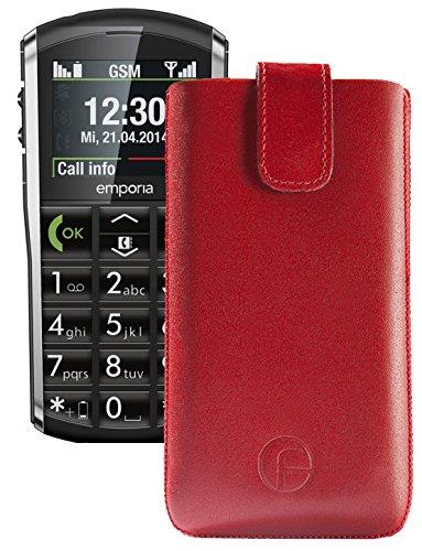 Original Favory Etui Tasche für / Emporia PURE / Leder Etui Handytasche Ledertasche Schutzhülle Case Hülle Lasche mit Rückzugfunktion* in rot