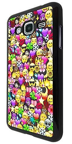 2070 - Cool Fun Funny Emoji Wallpaper Crown Princess Poop Devil Smiley Love Heart Design Samsung Galaxy J3 2016 SM-J320F Coque Fashion Trend Case Coque Protection Cover plastique et métal - Noir