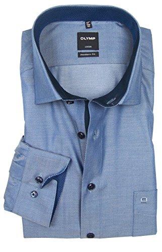 OLYMP Luxor - modern fit Hemd hellblau 0544-64-18 langarm Patch dunkelblau Dunkelblau