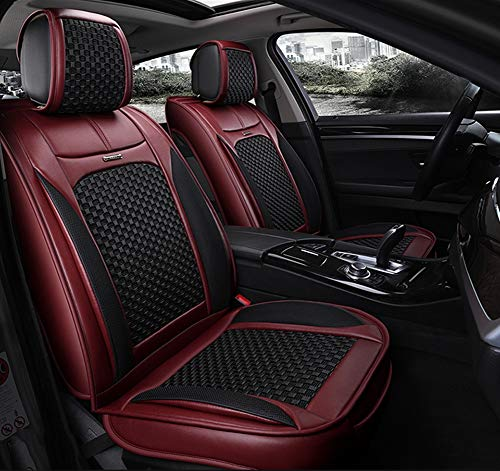 Autositzbezug Auto Sitzkissen Für Alle Automodelle, Leder + Eis Seide Materialien Vier Jahreszeiten Universal, Komplettsitze 5 Stücke,Red