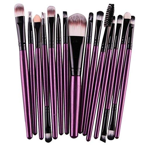 Tefamore Conjunto De Brochas Cepillo Herramientas De Maquillaje Kit De Tocador Lana (15 piezas-color) (Morado)